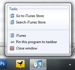 iTunes Windows 7 Superbar Jumplists