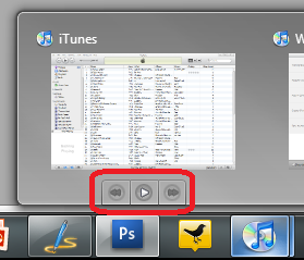 iTunes Windows 7 Superbar Quick play