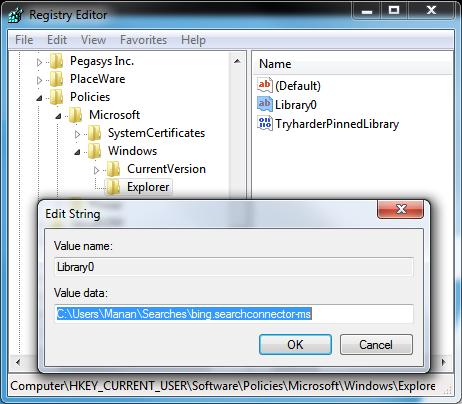 Bing Start Menu Registry Tweak