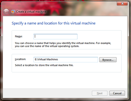 windows virtual pc setting up virtual machine create virtual machine