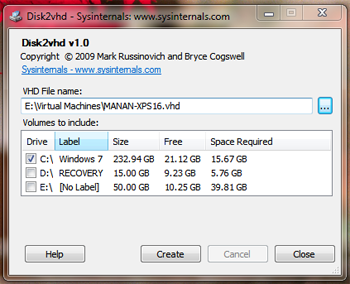 sysinternals disk2vhd download screenshot