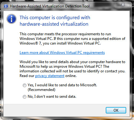 Windows 7 Microsoft Hardware Virtualization tool screenshot