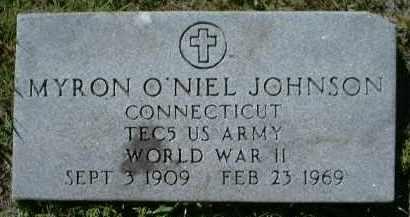 JOHNSON (VETERAN WWII), MYRON O'NIEL - Charlotte County, Florida | MYRON O'NIEL JOHNSON (VETERAN WWII) - Florida Gravestone Photos