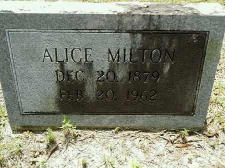 MILTON, ALICE - Gilchrist County, Florida   ALICE MILTON - Florida Gravestone Photos
