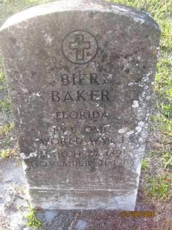 BAKER (VETERAN WWI), BIER - Hillsborough County, Florida | BIER BAKER (VETERAN WWI) - Florida Gravestone Photos