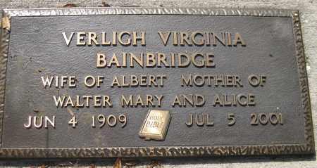 BAINBRIDGE, VERLIGH VIRGINIA - Lee County, Florida   VERLIGH VIRGINIA BAINBRIDGE - Florida Gravestone Photos