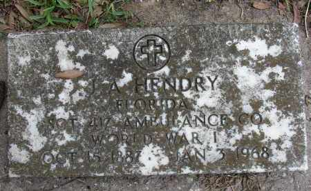 HENDRY (VETERAN WWI), J A - Lee County, Florida | J A HENDRY (VETERAN WWI) - Florida Gravestone Photos