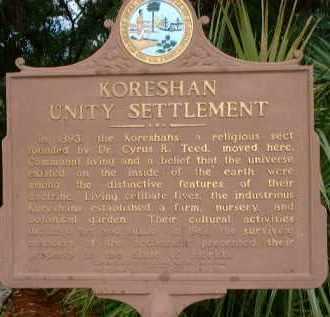 *KORESHAN, UNITY SETTLEMENT MARKER - Lee County, Florida | UNITY SETTLEMENT MARKER *KORESHAN - Florida Gravestone Photos