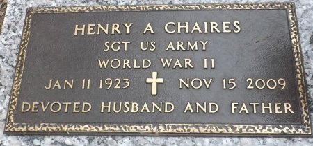 CHAIRES (VETERAN WWII), HENRY A. (NEW) - Levy County, Florida | HENRY A. (NEW) CHAIRES (VETERAN WWII) - Florida Gravestone Photos