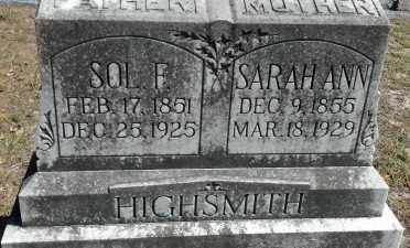 HIGHSMITH, SOLOMON FRANKLIN - Levy County, Florida | SOLOMON FRANKLIN HIGHSMITH - Florida Gravestone Photos