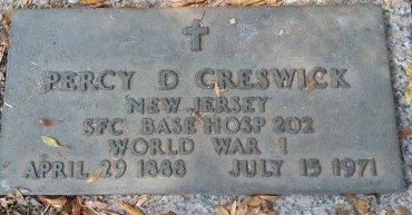 CRESWICK (VETERAN WWI), PERCY D. (NEW) - Pinellas County, Florida   PERCY D. (NEW) CRESWICK (VETERAN WWI) - Florida Gravestone Photos