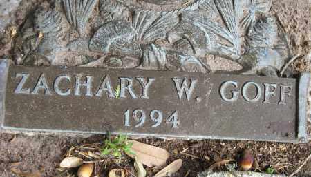 GOFF, ZACHARY W - Sarasota County, Florida   ZACHARY W GOFF - Florida Gravestone Photos