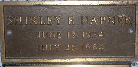 HAPNER, SHIRLEY F. - Sarasota County, Florida   SHIRLEY F. HAPNER - Florida Gravestone Photos