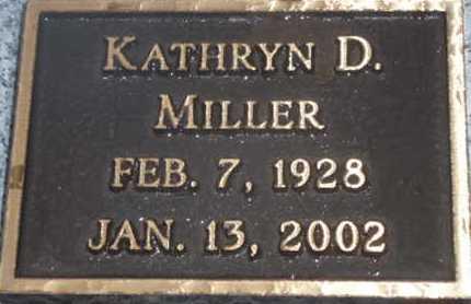 MILLER, KATHRYN D. - Sarasota County, Florida | KATHRYN D. MILLER - Florida Gravestone Photos