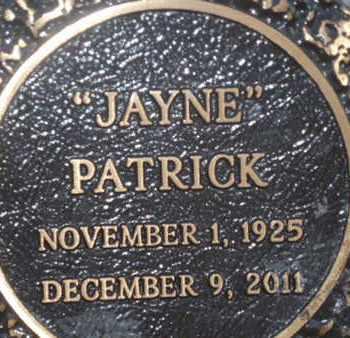 "PATRICK, ""JAYNE"" - Sarasota County, Florida | ""JAYNE"" PATRICK - Florida Gravestone Photos"
