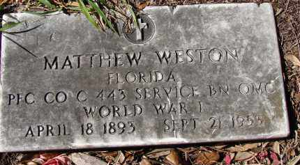 WESTON (VETERAN WWI), MATTHEW - Sarasota County, Florida | MATTHEW WESTON (VETERAN WWI) - Florida Gravestone Photos