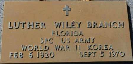 BRANCH (VETERAN WWII KOR), LUTHER WILEY (NEW) - Wakulla County, Florida | LUTHER WILEY (NEW) BRANCH (VETERAN WWII KOR) - Florida Gravestone Photos