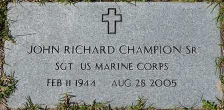 CHAMPION SR. (VETERAN), JOHN RICHARD (NEW) - Wakulla County, Florida | JOHN RICHARD (NEW) CHAMPION SR. (VETERAN) - Florida Gravestone Photos
