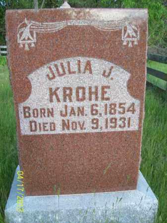 KROHE, JULIA J - Cass County, Illinois | JULIA J KROHE - Illinois Gravestone Photos