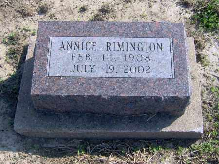 RIMINGTON, ANNICE - Fulton County, Illinois   ANNICE RIMINGTON - Illinois Gravestone Photos