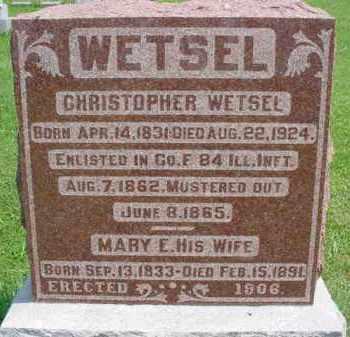 WETSEL (WETZEL), MARY E. - Fulton County, Illinois | MARY E. WETSEL (WETZEL) - Illinois Gravestone Photos