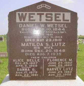 WETSEL (WETZEL), HARVEY LUTZ - Fulton County, Illinois | HARVEY LUTZ WETSEL (WETZEL) - Illinois Gravestone Photos