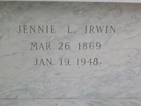 IRWIN, JENNIE LAURA - Hancock County, Illinois | JENNIE LAURA IRWIN - Illinois Gravestone Photos