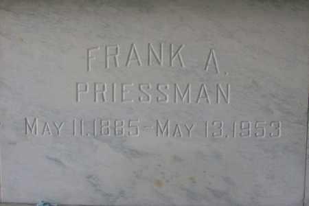 PRIESSMAN, FRANK A - Hancock County, Illinois | FRANK A PRIESSMAN - Illinois Gravestone Photos