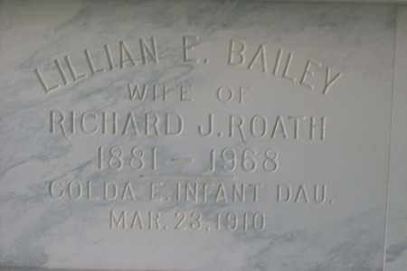 BAILEY ROATH, LILLIAN EMMA - Hancock County, Illinois | LILLIAN EMMA BAILEY ROATH - Illinois Gravestone Photos
