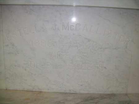 MCCALLISTER SHEETS, ESTELLA JANE - Hancock County, Illinois | ESTELLA JANE MCCALLISTER SHEETS - Illinois Gravestone Photos