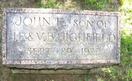 HIGHFIELD, JOHN E. - Henderson County, Illinois   JOHN E. HIGHFIELD - Illinois Gravestone Photos