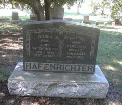 HEM HAFENRICHTER, MARY - Kendall County, Illinois | MARY HEM HAFENRICHTER - Illinois Gravestone Photos