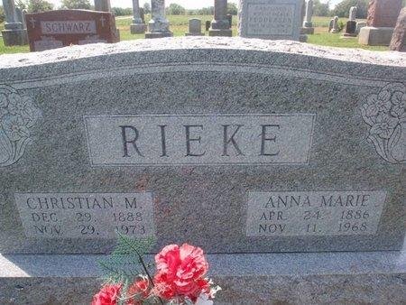 RIEKE, CHRISTIAN M - Perry County, Illinois | CHRISTIAN M RIEKE - Illinois Gravestone Photos