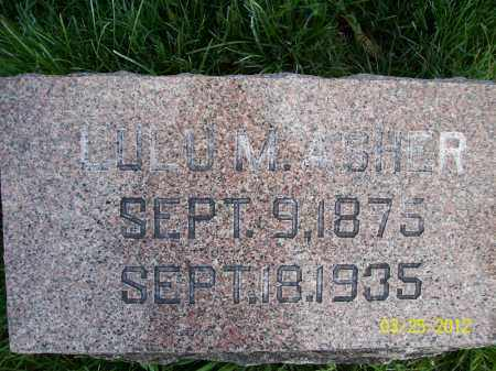 ASHER, LULU M - Schuyler County, Illinois | LULU M ASHER - Illinois Gravestone Photos