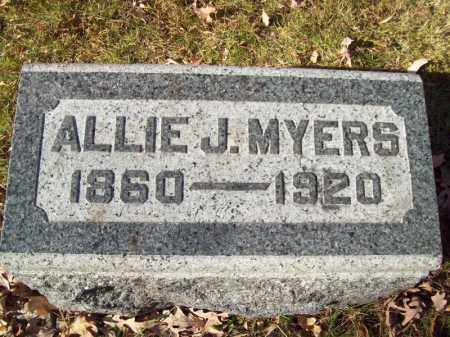 MYERS, ALLIE J - Tazewell County, Illinois | ALLIE J MYERS - Illinois Gravestone Photos