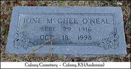 MCGHEE O'NEAL, IONE - Anderson County, Kansas | IONE MCGHEE O'NEAL - Kansas Gravestone Photos