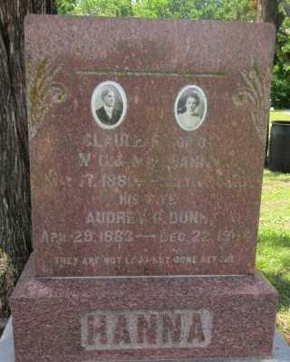 DUNN HANNA, AUBREY E - Bourbon County, Kansas | AUBREY E DUNN HANNA - Kansas Gravestone Photos