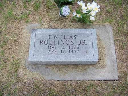 "ROLLINGS, ELIAS WASHINGTON ""LIAS"", JR - Butler County, Kansas   ELIAS WASHINGTON ""LIAS"", JR ROLLINGS - Kansas Gravestone Photos"
