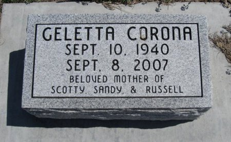 CORONA, GELETTA - Chautauqua County, Kansas   GELETTA CORONA - Kansas Gravestone Photos
