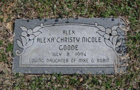 GOODE, ALEXA CHRISTY NICOLE - Chautauqua County, Kansas | ALEXA CHRISTY NICOLE GOODE - Kansas Gravestone Photos