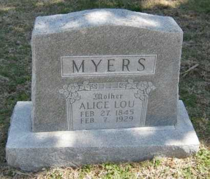MCGILL MYERS, ALICE LOU - Chautauqua County, Kansas | ALICE LOU MCGILL MYERS - Kansas Gravestone Photos