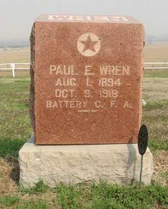 WREN, PAUL E (VETERAN WWI, DOD) - Chautauqua County, Kansas   PAUL E (VETERAN WWI, DOD) WREN - Kansas Gravestone Photos