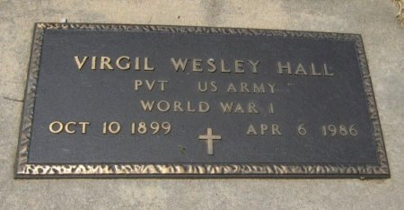 HALL, VIRGIL WESLEY (VETERAN WWI) - Cowley County, Kansas | VIRGIL WESLEY (VETERAN WWI) HALL - Kansas Gravestone Photos
