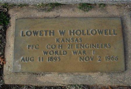 HOLLOWELL, LOWETH WAYNE (VETERAN WWI) - Cowley County, Kansas | LOWETH WAYNE (VETERAN WWI) HOLLOWELL - Kansas Gravestone Photos