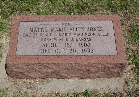 JONES, MATTIE MARIE - Cowley County, Kansas | MATTIE MARIE JONES - Kansas Gravestone Photos