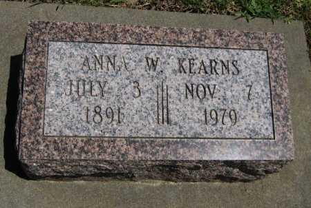 KEARNS, ANNA W - Cowley County, Kansas   ANNA W KEARNS - Kansas Gravestone Photos