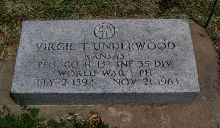 UNDERWOOD, VIRGIL T (VETERAN WWI) - Cowley County, Kansas | VIRGIL T (VETERAN WWI) UNDERWOOD - Kansas Gravestone Photos