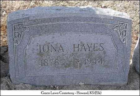 TABER HAYES, IONA - Elk County, Kansas   IONA TABER HAYES - Kansas Gravestone Photos