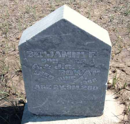 ROWAN, BENJAMIN F - Finney County, Kansas   BENJAMIN F ROWAN - Kansas Gravestone Photos