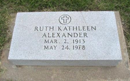 WILLIAMS ALEXANDER, RUTH KATHLEEN - Ford County, Kansas | RUTH KATHLEEN WILLIAMS ALEXANDER - Kansas Gravestone Photos